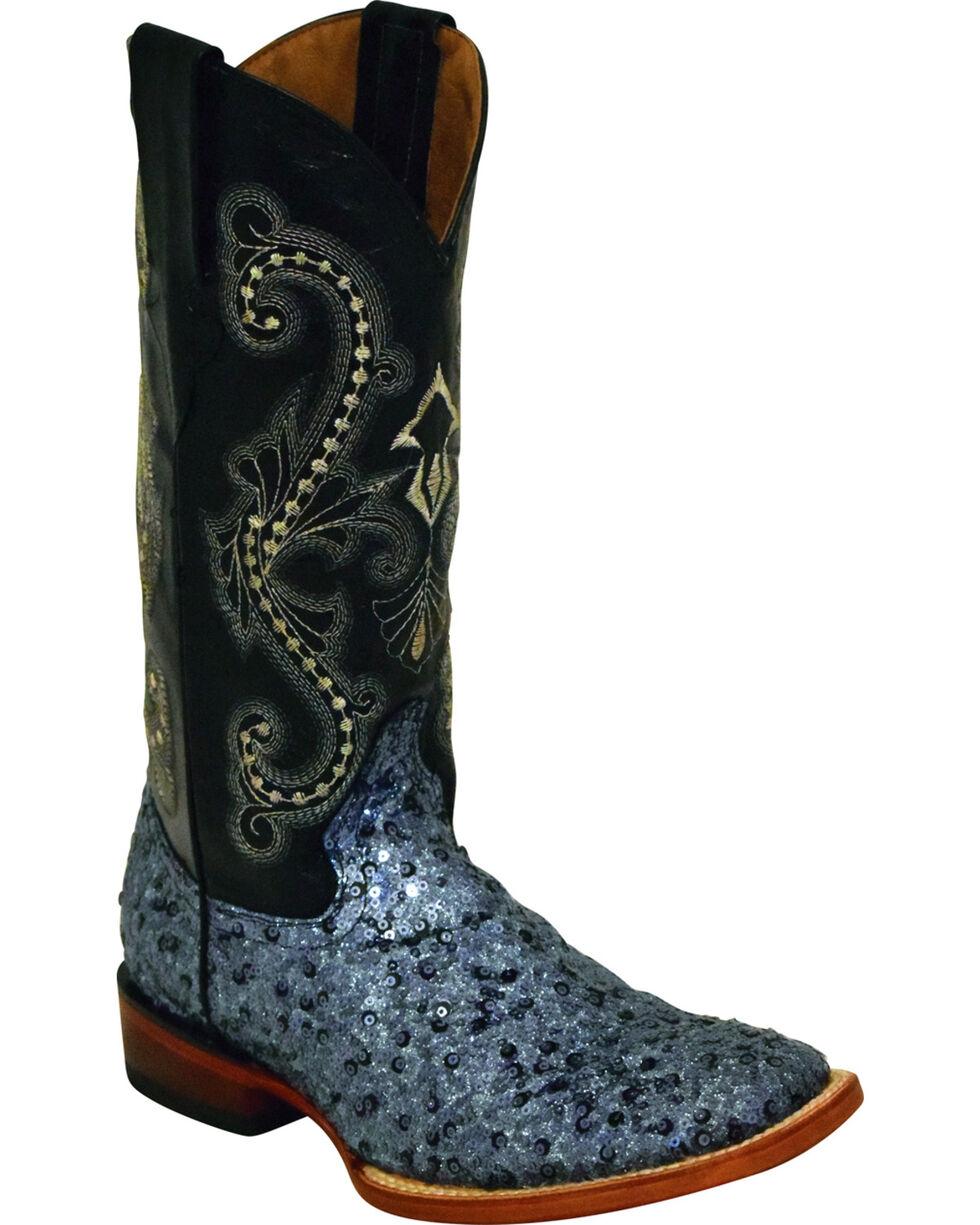 Ferrini Women's Sparkle Slate Sequin Cowgirl Boots - Square Toe, Slate, hi-res