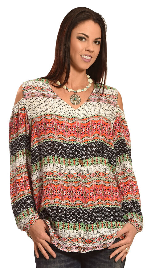 New Direction Sport Women's Cold Shoulder Print Shirt , Multi, hi-res