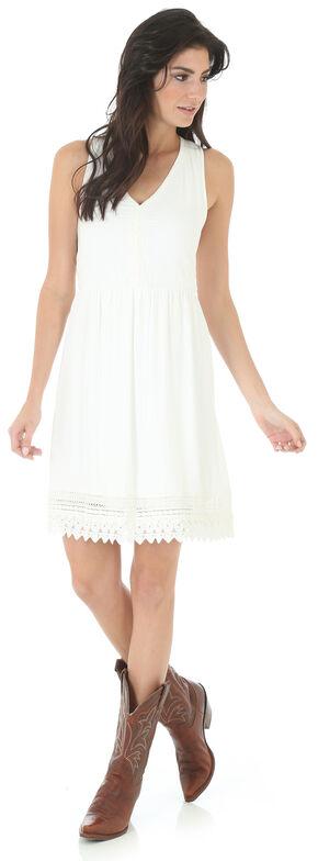 Wrangler Women's V Neck Crochet Trim Sleeveless Dress, Ivory, hi-res