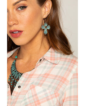 Shyanne Women's La Rosita Cross With Heart Earrings, Turquoise, hi-res