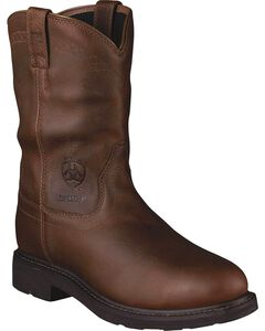 Ariat Sierra Waterproof Pull-On Work Boots - Steel Toe, Brown, hi-res