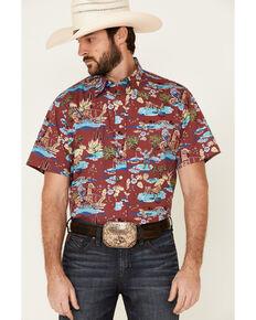 Tin Haul Men's Red Hawaiian Rodeo Print Short Sleeve Snap Western Shirt , Red, hi-res