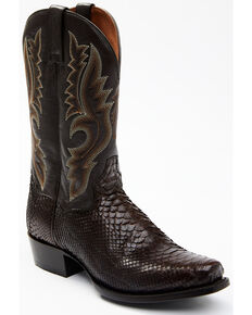 Dan Post Men's Rustic Exotic Python Western Boots - Square Toe, Chocolate, hi-res