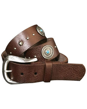 Roper Women's Antique Silver Concho Tumbled Leather Belt, Brown, hi-res