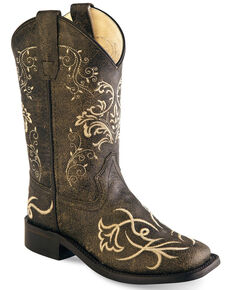 Old West Girls' Tooled Embroidery Western Boots - Wide Square Toe, Charcoal, hi-res