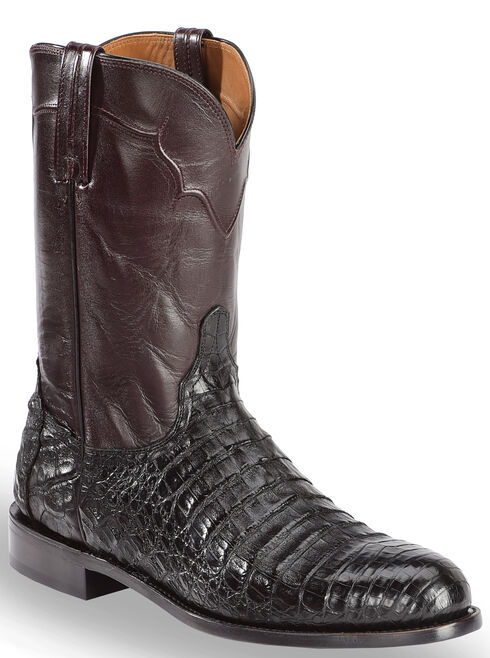 Lucchese Dustin Belly Caiman Roper Boots - Round Toe , Black, hi-res