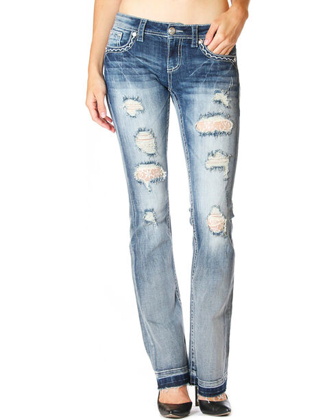 Grace In LA Women's Destructed Under Water Lace Jeans - Boot Cut , Light/pastel Blue, hi-res