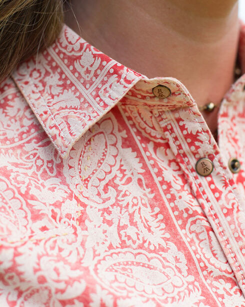 Ryan Michael Women's Red Bandanna Print Shirt , Red, hi-res