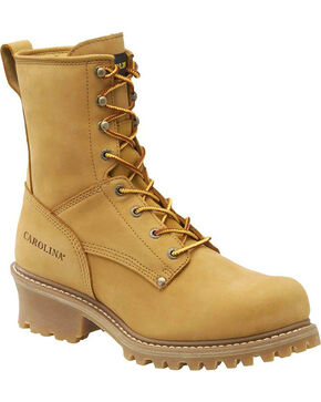 "Carolina Men's Wheat Journeyman Logger 8"" Work Boots - Steel Toe, Wheat, hi-res"