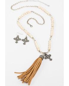 Shyanne Women's White Howlite Cross Charm Tassel Necklace Set, Silver, hi-res