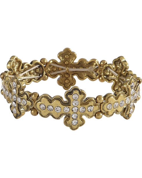 Shyanne Women's Rhinestone Cross Bracelet, Gold, hi-res