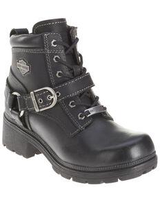 Harley Davidson Women's Tegan Lace Moto Boots - Round Toe, Black, hi-res