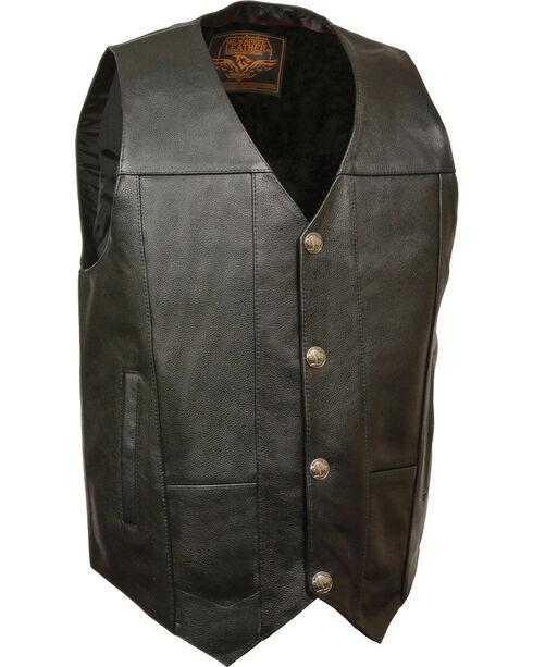 Milwaukee Leather Men's Buffalo Snap Plain Side Vest, Black, hi-res