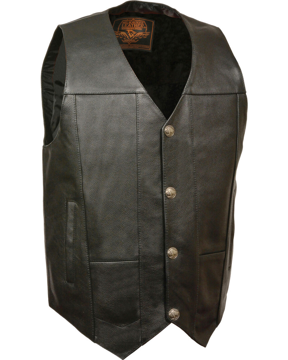 Milwaukee Leather Men's Buffalo Snap Plain Side Vest - 3X, Black, hi-res