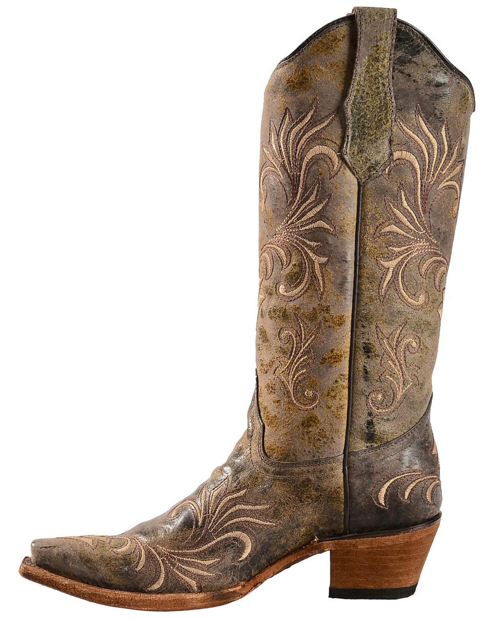 Circle G Women's Filigree Cowgirl Boots - Snip Toe, Green, hi-res