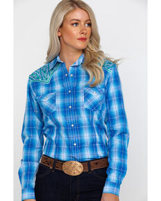 Rough Stock by Panhandle Women's Lindsey Ombre Plaid Long Sleeve Western Shirt , Blue, hi-res