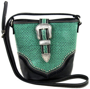 Montana West Trinity Ranch Basket Weave Buckle Design Handbag, Black, hi-res