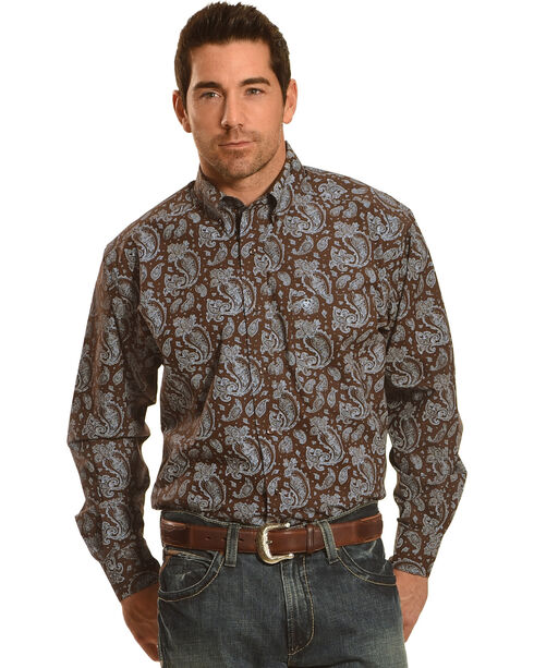 Ariat Pro Series Reeve Classic Fit Poplin Western Shirt , Brown, hi-res