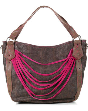 Catchfly Women's Paige Hobo Shoulder Bag, Brown/pink, hi-res