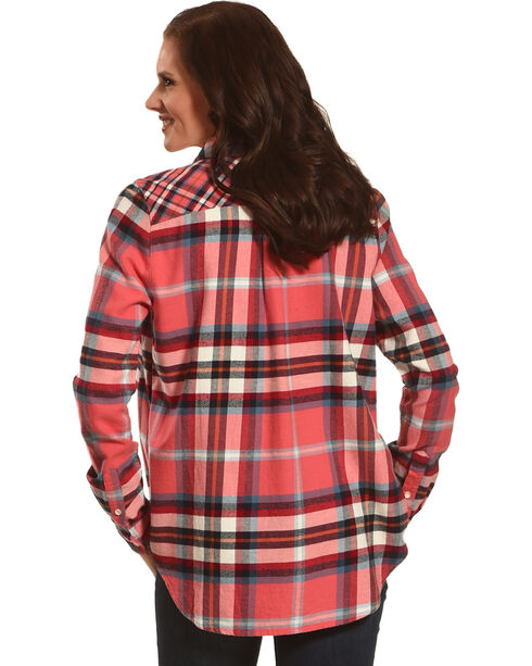 Shyanne Women's Coral Contrast Check Plaid Flannel, Coral, hi-res