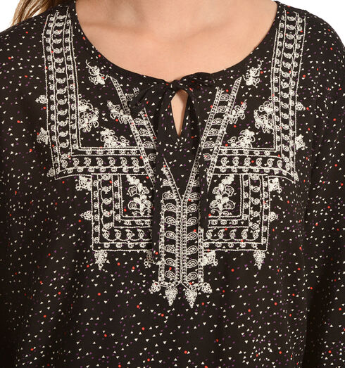 Red Ranch Women's Confetti Embroidered Peasant Top, Black, hi-res