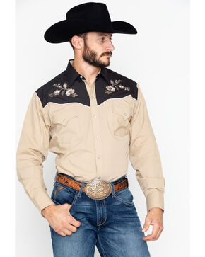 Ely Cattleman Men's Two Tone Embroidered Long Sleeve Western Shirt  , Tan, hi-res