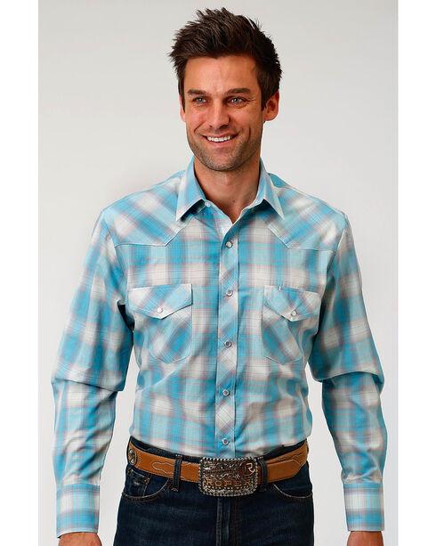 Roper Men's Turquoise Plaid Long Sleeve Western Snap Shirt, , hi-res