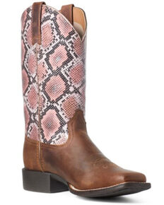 Ariat Women's Round Up Snake Print Western Boots - Wide Square Toe, Brown, hi-res