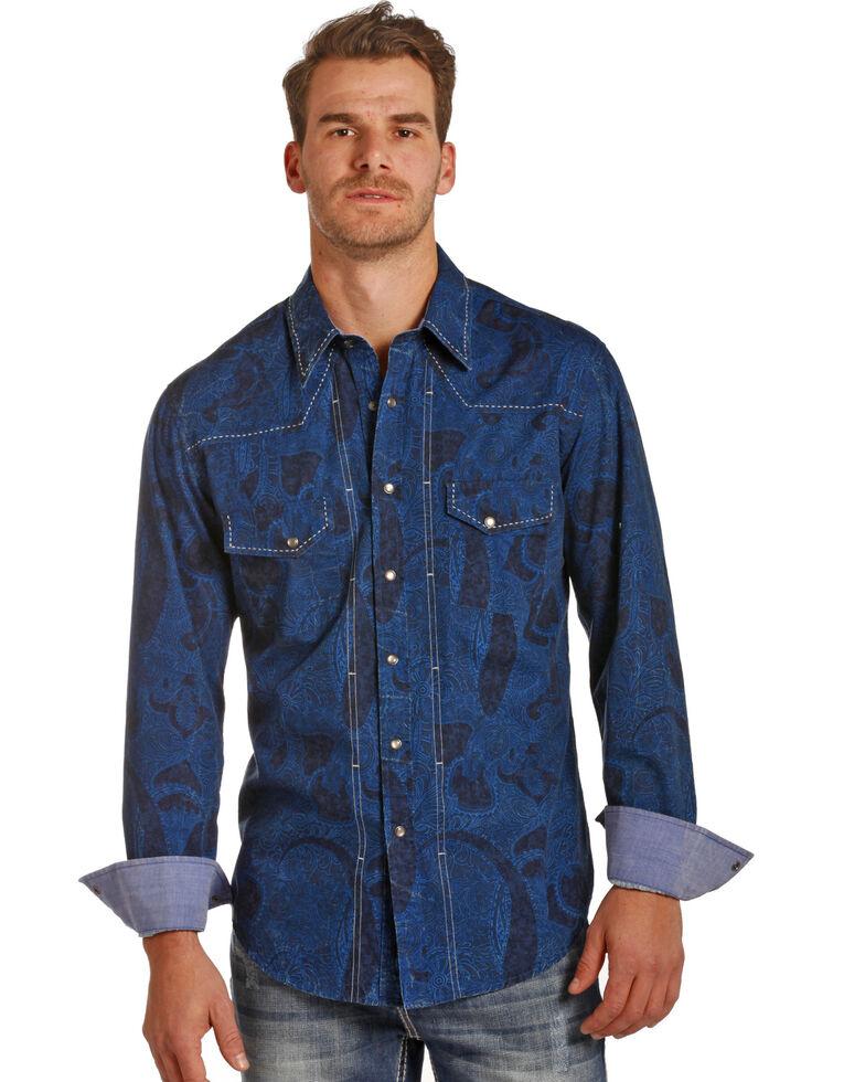 Rock & Roll Denim Men's Blue Paisley Print Long Sleeve Western Shirt , Blue, hi-res