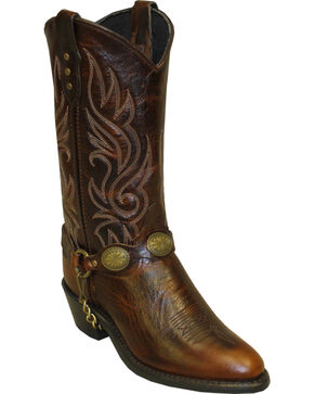 Sage by Abilene Women's Concho Harness Western Boots - Round Toe, Brown, hi-res