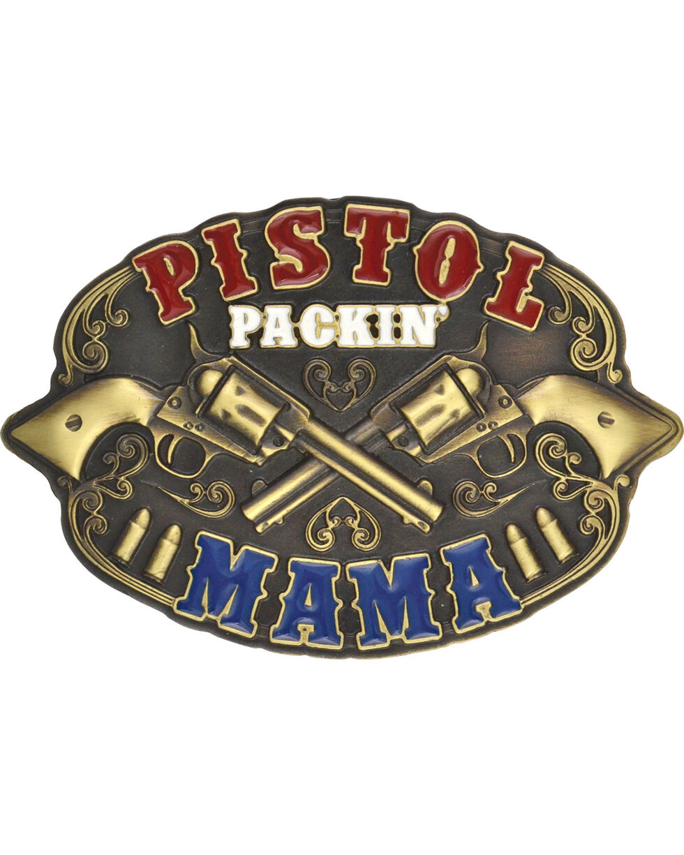 Montana Silversmiths Pistol Packin' Mama Attitude Buckle, Antique Brass, hi-res