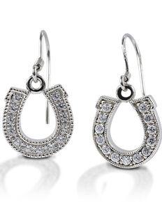 Kelly Herd Women's Dangle Horseshoe Earrings, Silver, hi-res