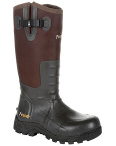 Rocky Men's Black Rubber Snake Boots - Round Toe, Brown, hi-res