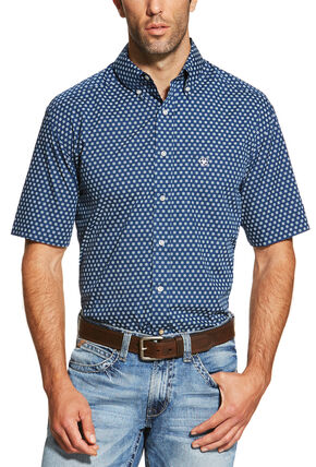 Ariat Men's Navy Neilan Print Short Sleeve Shirt - Big and Tall, Blue, hi-res