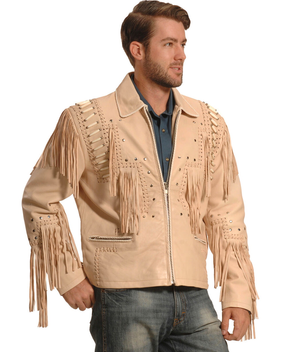 Liberty Wear Men's Cream Bone Fringed Leather Jacket , Cream, hi-res