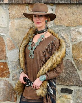 Tasha Polizzi Women's Legend Long Sleeve Fringe Tee, Lt Brown, hi-res