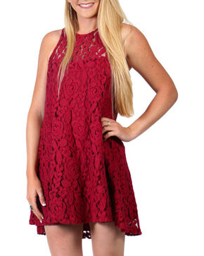 Shyanne Women's Flare Lace Dress , Burgundy, hi-res