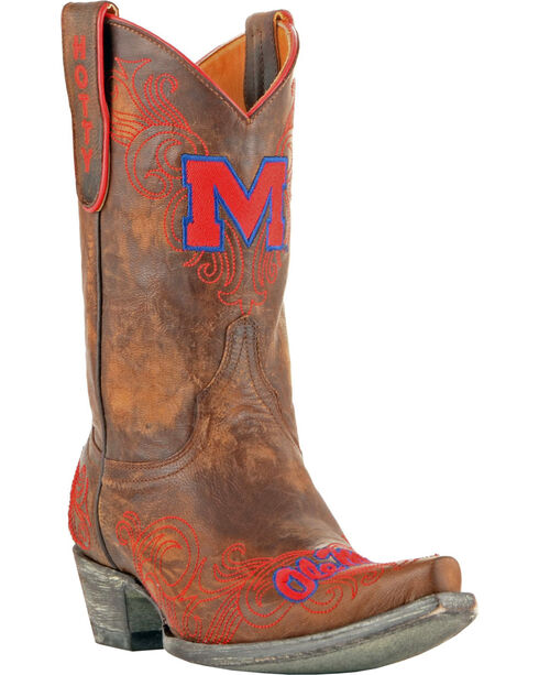 Gameday University of Mississippi Cowgirl Boots - Snip Toe, Brass, hi-res
