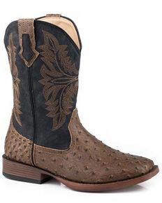 Roper Men's Faux Ostrich Print Western Boots - Square Toe, Brown, hi-res