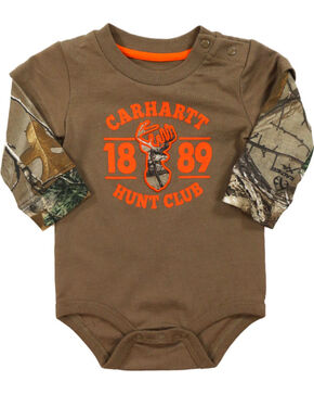 Carhartt Infant Boys' Camo Layered Onesie, Brown, hi-res