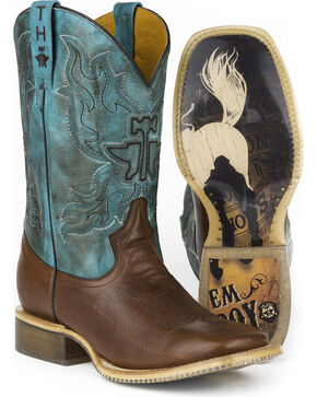 Tin Haul Men's Bronco Rider Sole Cowboy Boots - Square Toe , Tan, hi-res