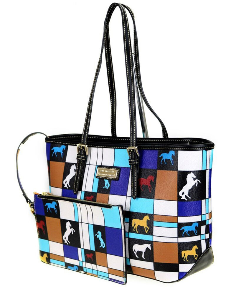 Montana West Women's Trail of Painted Ponies Tote / Matching wristlet, Off White, hi-res