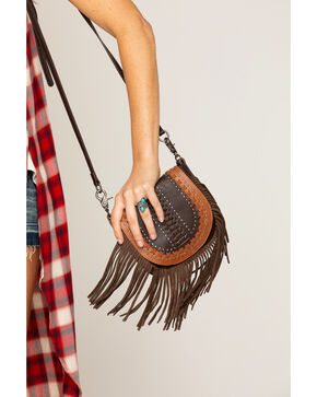 Shyanne Women's Studded Fringe Crossbody Bag, Brown, hi-res