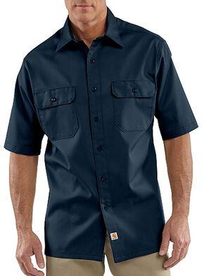 Carhartt Twill Work Short Sleeve Work Shirt, Navy, hi-res