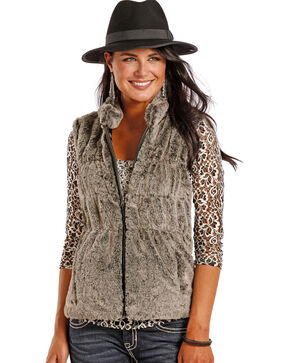 Powder River Outfitters Women's Charcoal Faux Fur Vest , Charcoal, hi-res