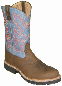 Twisted X Denim Blue Cowboy Pull-On Work Boots - Soft Round Toe, Distressed, hi-res