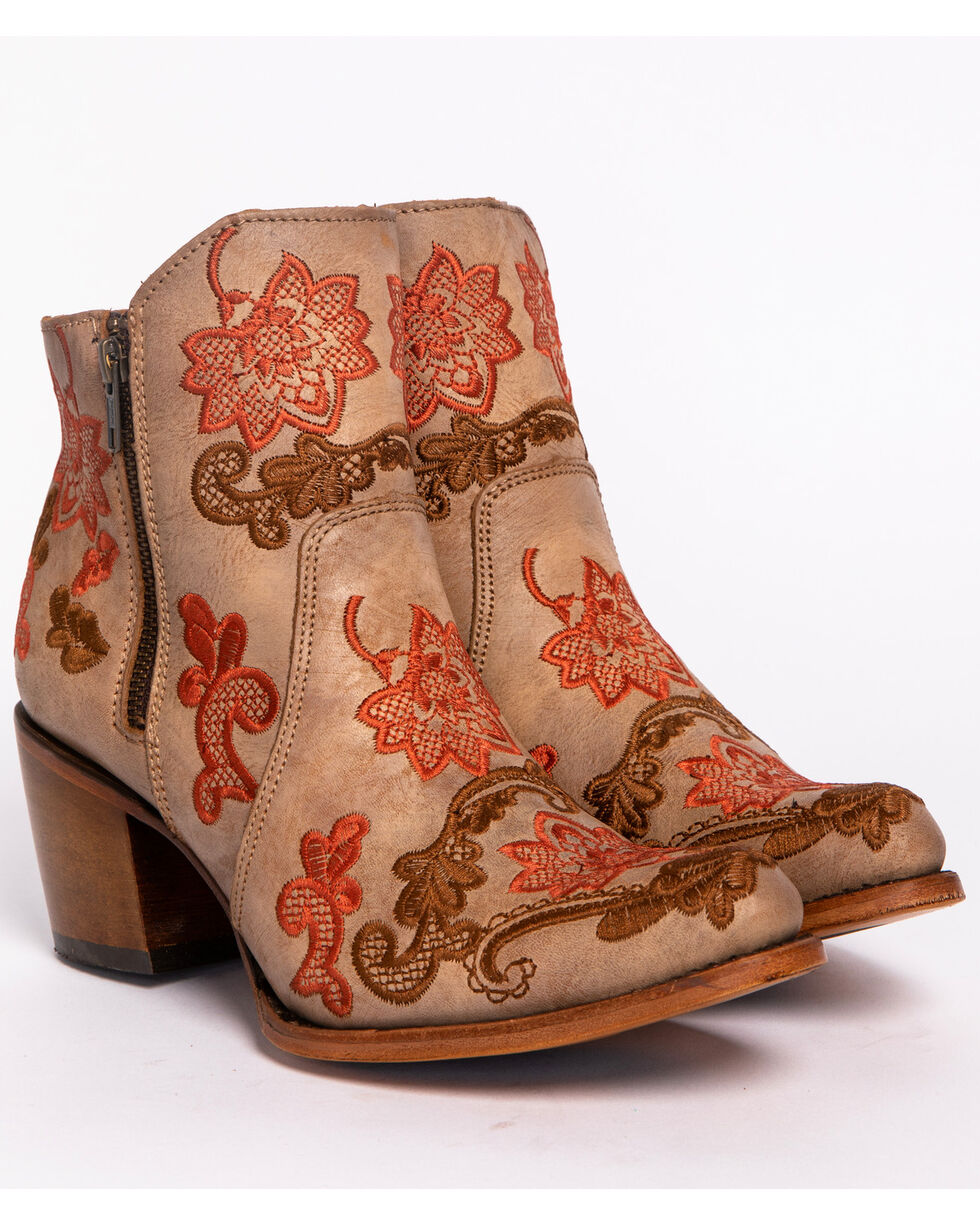 Corral Women's Camel Floral Embroidery Ankle Boots - Round Toe , Camel, hi-res