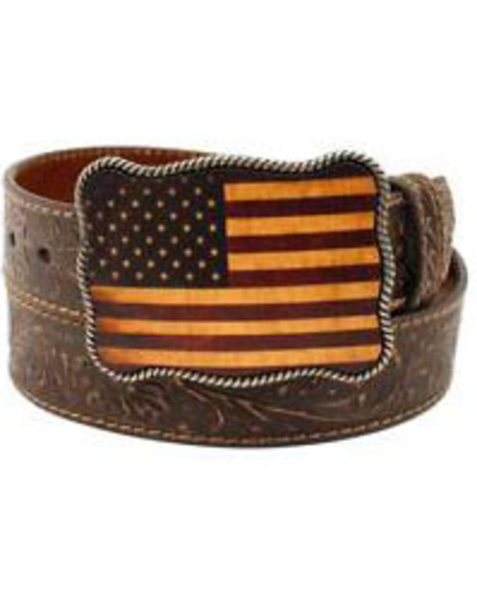 Nocona Men's American Flag Belt, Brown, hi-res