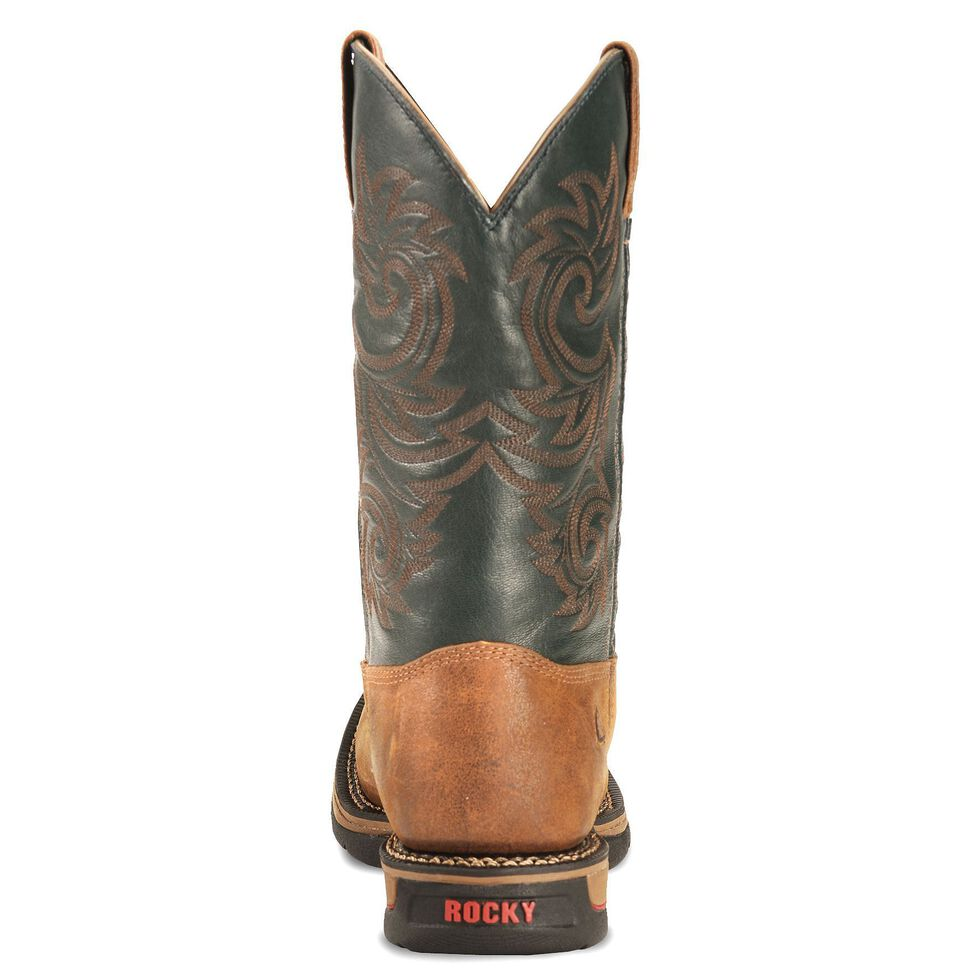 0974a832fa2 Rocky Brown Long Range Waterproof Pull On Work Boot - Sq Toe