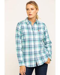 Ariat Women's FR Blue Gisela Plaid Long Sleeve Work Shirt , Blue, hi-res